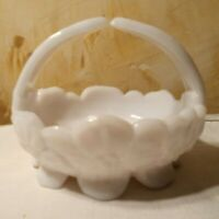 Westmoreland Footed White Milk Glass Split Handle Candy Dish Basket