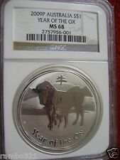 AUSTRALIA 2009 $1 YEAR OF THE OX 1 OZ. SILVER NGC MS-68 MINT CONDITION LUNAR