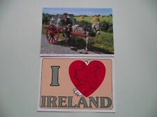 2 IRISH UNUSED POSTCARDS (DELIVERING MILK TO THE CREAMERY & I LOVE IRELAND)