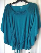 BRAND NEW A.N.A BATWING SLEEVES BELTED CROCHET TRIM T-SHIRTS ROYAL TEAL SIZE M