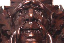 19C French Gothic Fantasy Carved Oak Mythological Gargoyle Mask Pediment PAIR