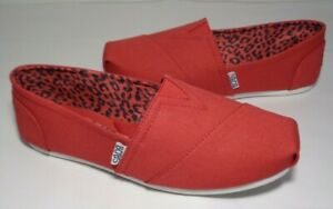 Skechers Size 8 Wide BOBS PLUSH PEACE & LOVE Red Loafers Flats New Women's Shoes