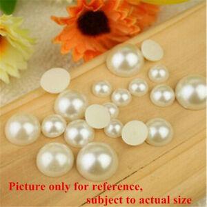 1000Pcs ABS Imitation Half Round Pearls Nail Art Flatback Resin Decoration uk