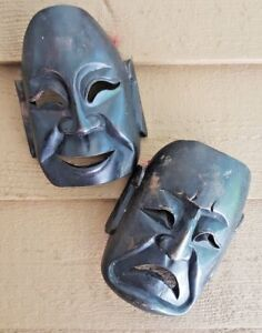 HAPPY SAD 3-D MASKS GREEK COMEDY TRAGEDY VINTAGE HAND-CARVED DARK WOOD UNIQUE