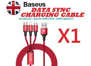 3 in 1 SUPER FAST Charging/Data Sync Transfer Micro/Type C/Lightning Phone Cable