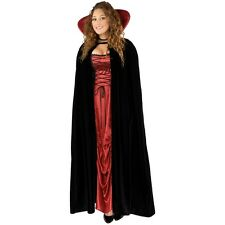 Black Velvet Vampire Cape Red Satin Lined Cloak Count Dracula Halloween Costume