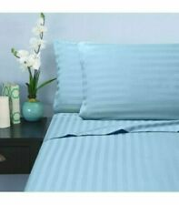 Australian Bedding Items & All Sizes Egyptian Cotton 1000 TC Light Blue Stripe