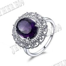 Filigree Halo 11x9mm Oval Amethyst Engagement SI/H Diamonds Ring 14K White Gold