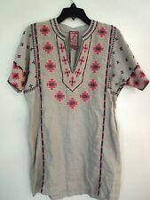 JOHNNY WAS Paige Voltage gray linen V-NECK easy dress/TUNIC NWT Small. Medium