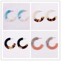 Fashion Design Lady Acrylic Leopard Print Drop Earring Long Hoop Dangle Earrings