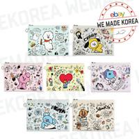 BT21 Character Flat PU Pouch Doodle S & L Size Official K-POP Authentic Goods