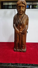 Hand Carved Wood Lady Bottle Hider 15.5 Inches Tall