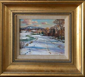 Wayne Beam Morrell Rockport  Gloucester Oil on Board Signed Winter Landscape