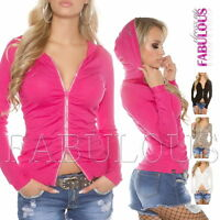 New Women's Diamante Front Zip Jumper Jacket Cardigan Size 6 8 10 XS S M