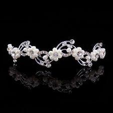 Kids Faux Pearl Crystal Wedding Children Flower Girl Tiara Headband - Kids Size