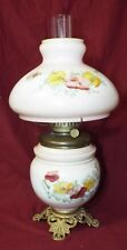 Antique PHOENIX GLASS CO. Milk Glass OIL LAMP Floral COMPLETE w/ Matching Shade