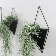 Wall Hanging Flower Plant Pots Iron Geometric Triangle Art Decorative Vase Decor