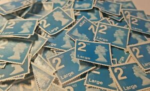50 x 2nd Class LARGE LETTER GENUINE Unfranked Stamps Second no gum stamp RARE