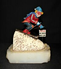 """Ron Lee 1985 Downhill Skiing Clown """"Caution No Snow"""" Figurine #438, Signed"""