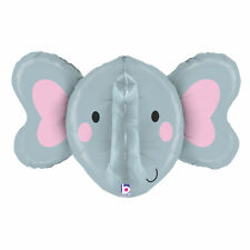 "Elephant Head 34"" Multi Sided Foil Balloon Wild Safari Zoo Animal Decoration"