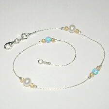 925 Sterling Silver Anklet Your size Freshwater Pearls, Opal & Gold Filled Beads