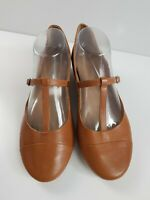 Wittner Brown Soft Leather T-Bar Buckle Mary Jane Low Heel Shoe Women's EUR42