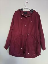 New Glamsia Women's Military Lightweight Hooded Parka Jacket Burgandy size XL
