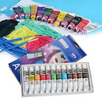 12 Color Professional Acrylic Paint Watercolor Set Hand Wall Painting Brush