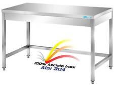 Tavolo In Acciaio Inox cm 200x60x85H Banco Cucina Professionale Ristorante