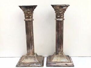Pair Corinthian Candlesticks, Silver Plated, Probably 1950's - Height 18.5cms.