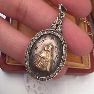Antique Pendant Maria Zell Gold Silver Diamond Antike Ciondolo Sacro Diamanti