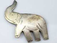 Vintage Elephant Brooch Pin Gold Tone Brass? Metal Etched Design Trunk Up