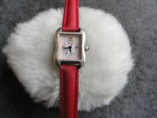 Pretty Girls or Ladies Barbie Quartz Watch with a Red Leather Band
