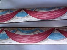 Vintage 1930's Red White Blue & Brown Swag Fabric Bold Vibrant Design Nos
