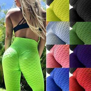 Womens Yoga Gym Anti-Cellulite Leggings Fitness Solid Butt Lift Elastic Pants