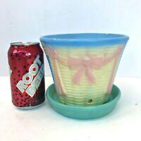 Vintage Flower Pot BASKET PLANTER Hull/McCoy? Blue Basketweave w/Pink Ribbon Bow