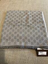 Authentic gucci scarf wool/silk Pearl/Medium Grey NWT