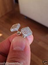 Mens & Ladies 18K W Gold Finish Lab Diamond Screw Back Stud Earrings JORGE