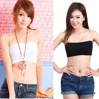 Sexy Women Black&White Bandeau Strapless Boob Tube Sports Bra Vest Crop Top Bras