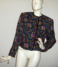 New Black Floral Tapestry Jacket by DONCASTER, size 10