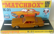 MATCHBOX Lesney KING SIZE K-21 Diecast MERCURY COUGAR & Custom Repro Display [1]