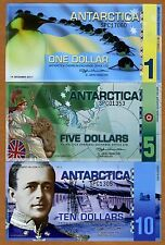 SET Antarctica, $1;5;10, Polymer, 2011, NEW, UNC -> SPC -> Commemorative