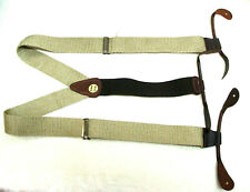 Khaki Cotton corded brown leather ends suspenders braces  MADE IN USA  Brand NEW
