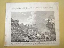 BELLE Gravure XVIII° VUE ILE TANNA VANUATU PACIFIQUE CORAIL MER HOMME  1790