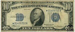 1934 United States $10 Silver Certificate Blue Seal CIRC Replacement / Star Note