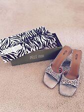 PELLE MODA Brown Leopard Jean Print open toe sandle size 11