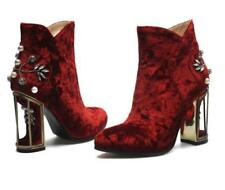 Vintage Women's Velvet Ankle Boots Floral Rhinestones High Block Heel Shoes 3-11
