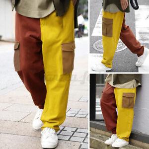 Mens Cargo Trousers Mluti Pockets Causal Outdoor Wide Leg Pants Bottoms Slacks