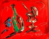 DRINKS WINE CHEESE STILL  LIFE  Abstract Modern CANVAS Original Oil Painting