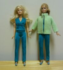 "11 1/2"" Doll Clothing Spandex Turquoise Top & Leggings plus Green Fleece Jacket"